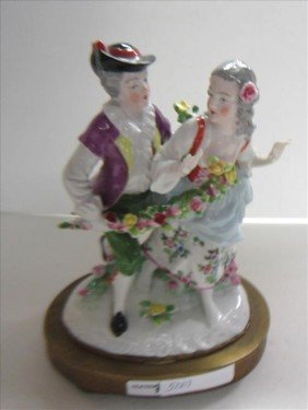 Porcelain Figurine Metal Base