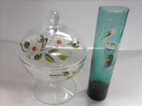 5002: 2 pc hand painted glass covered dish