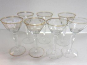 7pc- Stems With Gold Bands- 5 1.2 Tall-