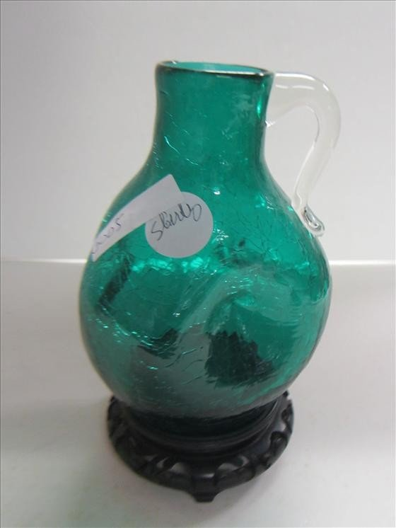 5005: Green crackle glass pinch jug
