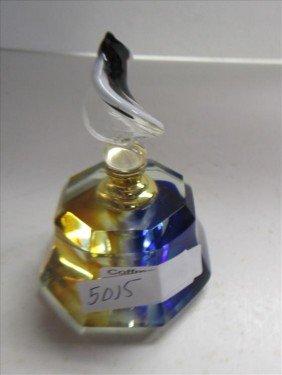 5015: Murano glass perfume 8 sided blue