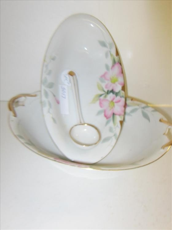 5017: 3 pc porcelain dishes- bowls and gravy spoon