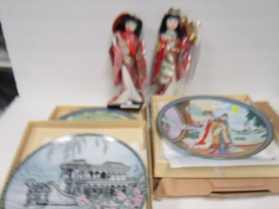 3006: 6pc- 4dishes -2 dolls-Geisha girl
