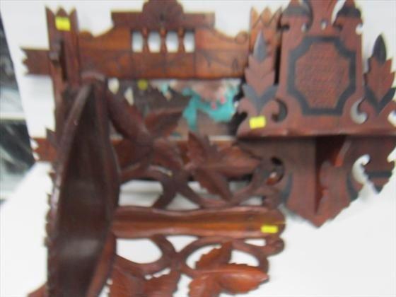 3007: 3 pc- wood shelves and towel rack