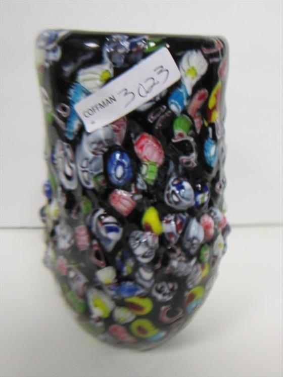 3023: Murano glass vase blue inside
