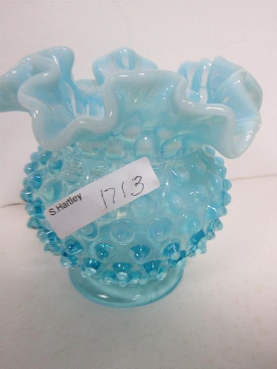 1713: Blue opalescent hobnail ruffled top vase
