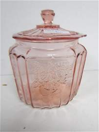 9001: Pink depression glass cookie jar