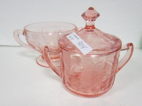 9004: 2 sugars Pink floral with lid