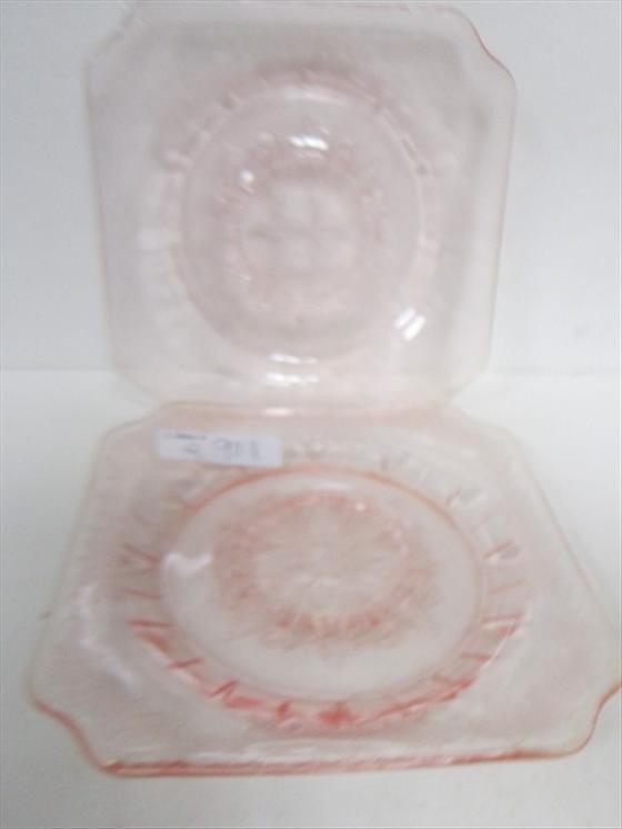 9011: 2 Pink Adam square saucers