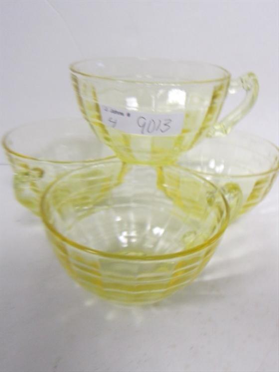 9013: 4 Amber Block optic cups-Depression glass