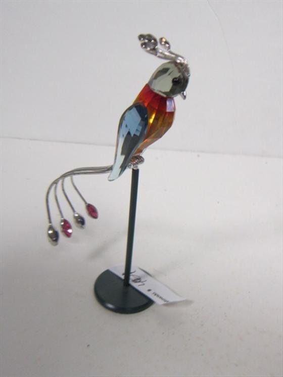 4021: Swarovski cockatiel on stand with silver trim