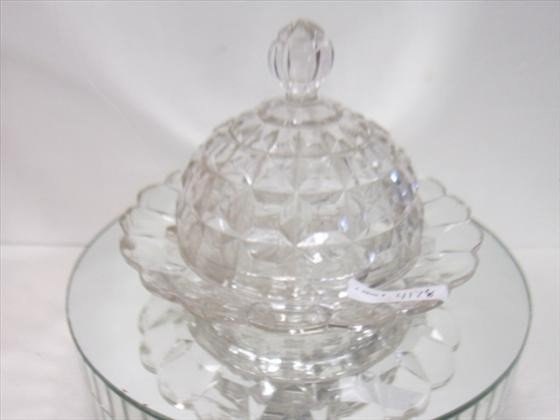 4178: Clear glass covered butter dish