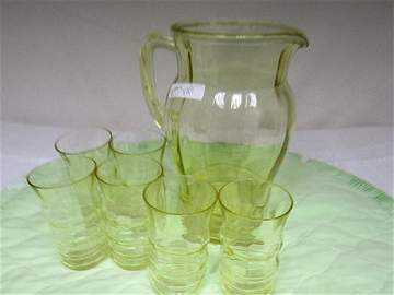 8001: 8 pc Topaz glass pitcher and juice glasses
