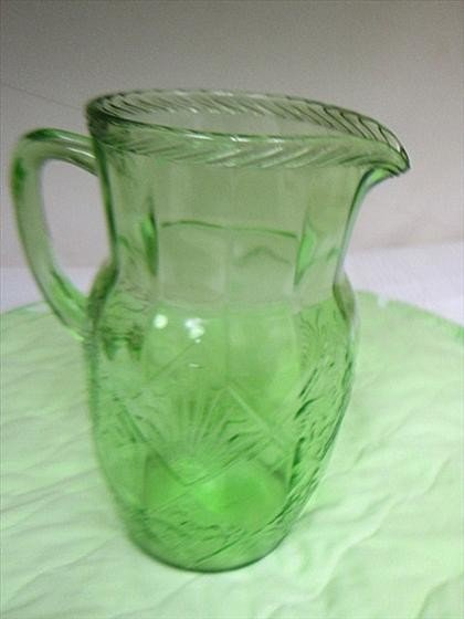 8002: Green   depression glass pitcher
