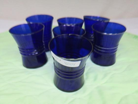 8004: 7 cobalt blue juice glass silver trim