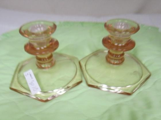 8010: Pair pink candle holders