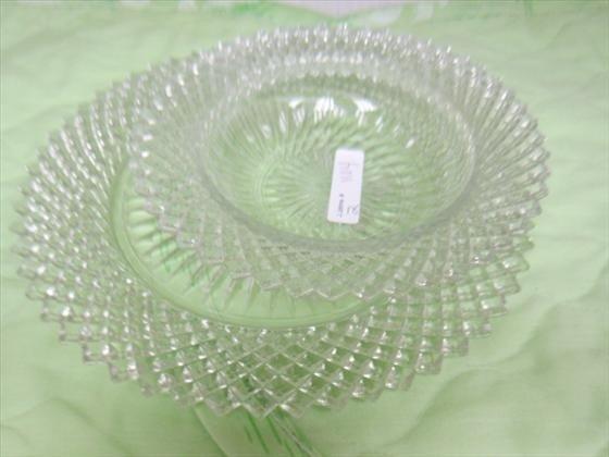1104: 2 pc - Miss American crystal - bowl
