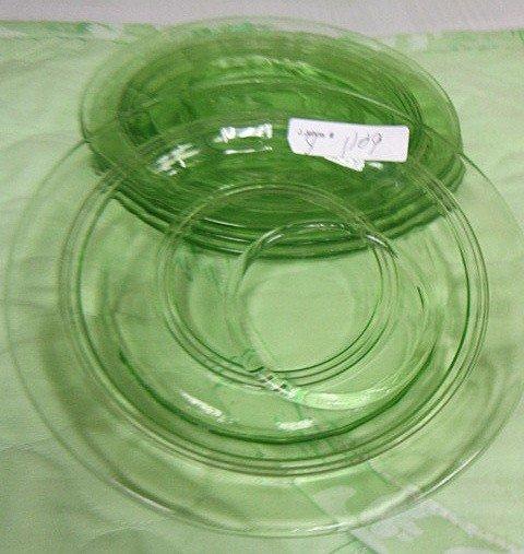 1109: 4 green depression glass - sherbet plates