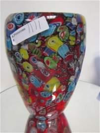 1111: Murano Glass - vase - red backing millefiori