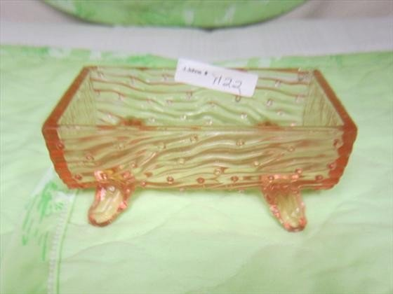 1122: Pink Trough footed - depression glass