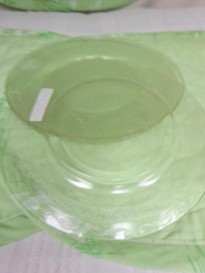 1123: 4 crystal depression glass plates