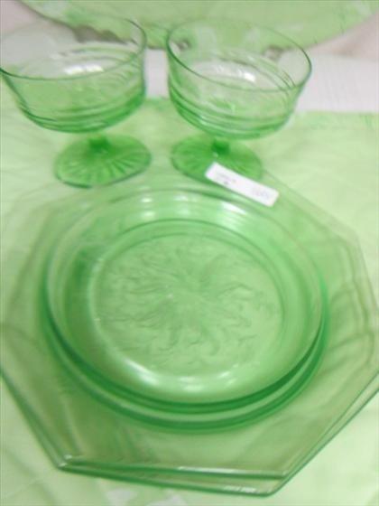 1124: 4 pc green depression glass
