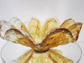 Murano Glass - Gold And Clear Ruffled Bowl