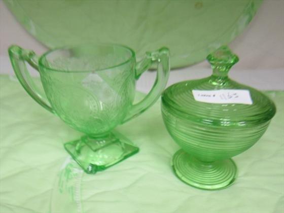 1163: 2 pc green depression glass sugar & candy jar