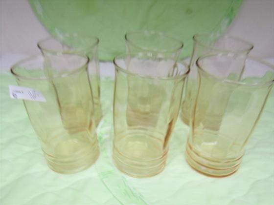 1165: Set 6 pink vertical top ribbed bottom tumblers