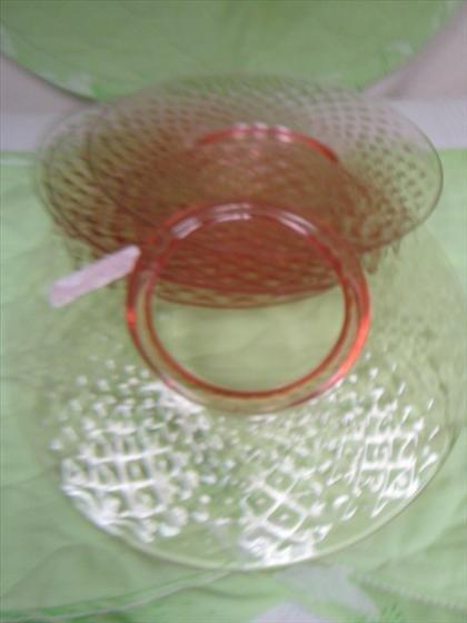 1169: 5 pink plates - depression glass