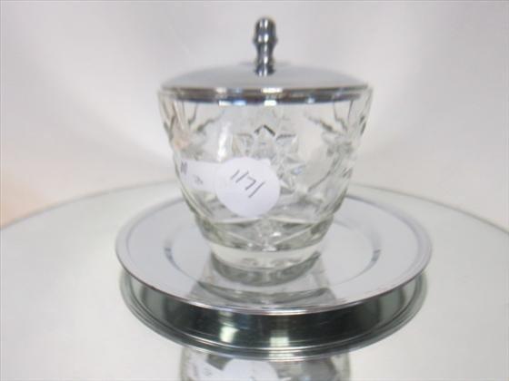 1171: 3 pc depression glass condiment jar