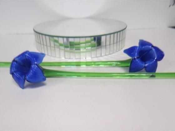 1268: Murano Glass - 2 glass long stem flowers