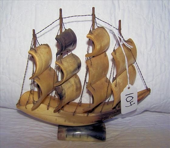 104: Hand carved sailing ship by Inuit