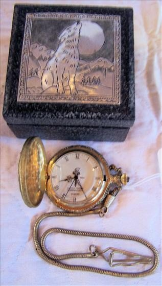 112: Pocket watch Commemorative  Quartz with fob