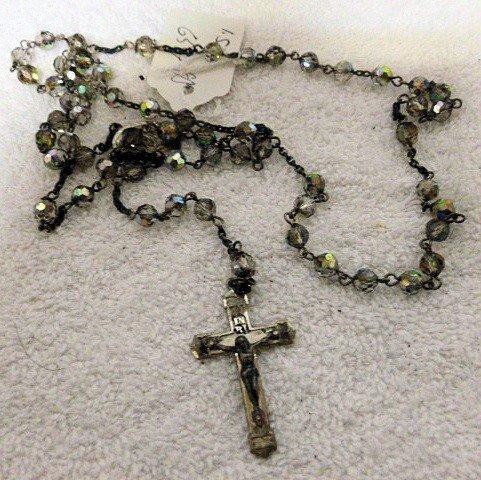 6559: Rosary beads sterling cross