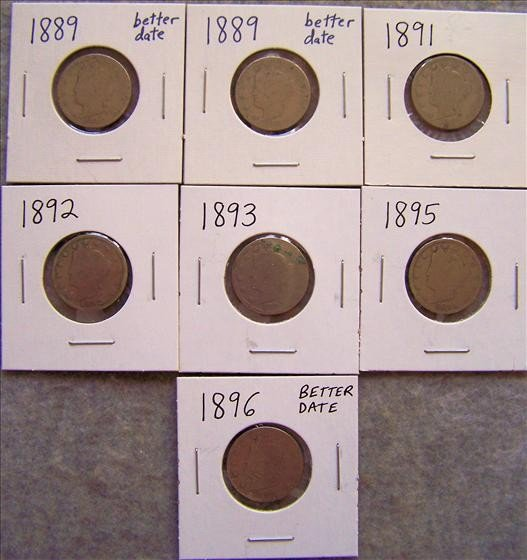 6582: 7 Liberty Head Nickels