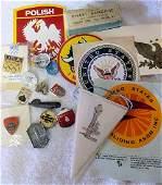 6634: Bag lot assorted decals pins wall displays