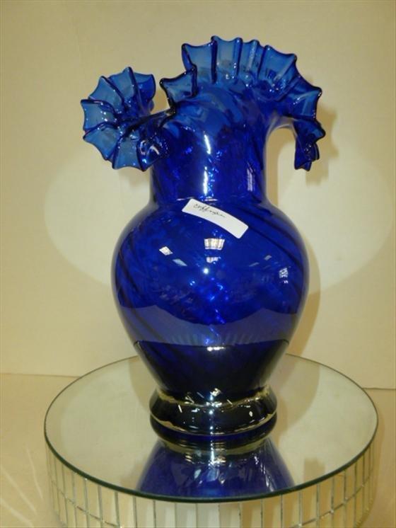Murano glass cobalt blue ruffled top vase