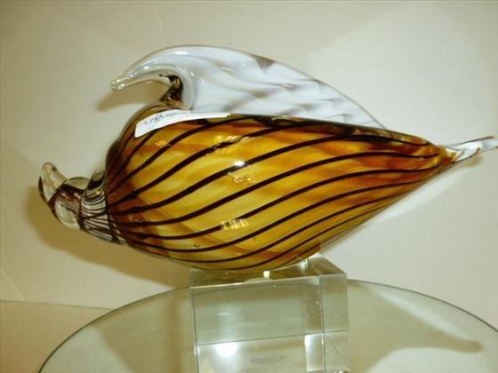 Murano glass sea shell w/attached base