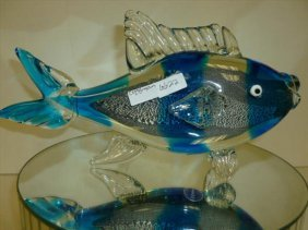 Murano Glass Fish In Blue Stripes 12 Long