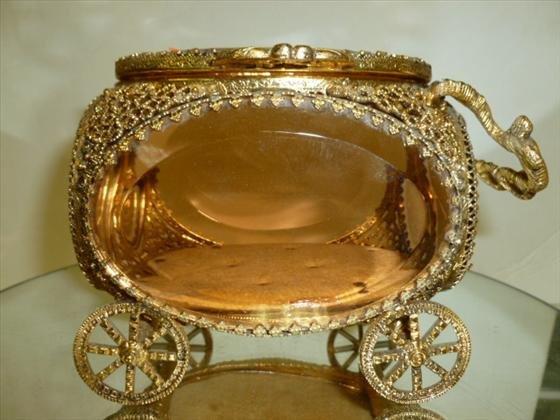 Gilt gold & glass dresser jewelry box