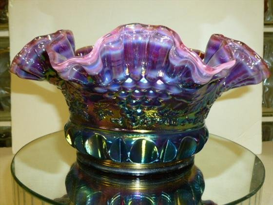 Fenton iridized purple bowl 5 by 10