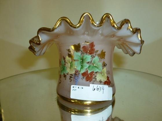 """Glass ruffled top hat dish-mauve-3"""""""