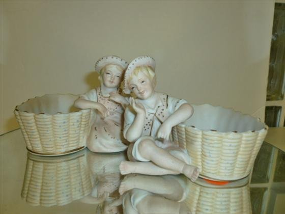 """2 pc bisque candy dishes-3 1/4"""""""