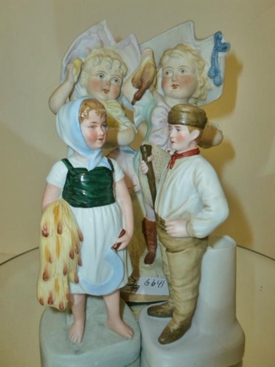 "3pc bisque figures-5 1/4""-7 1/2"""