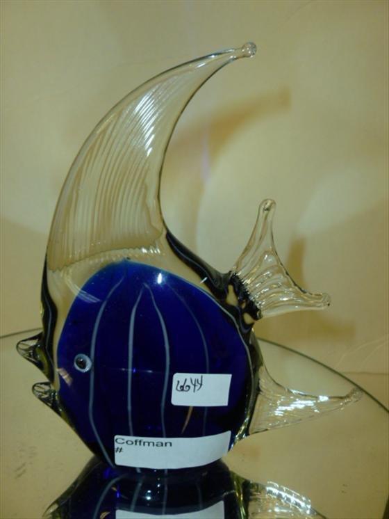 "Murano glass striped angel fish -6 1/4"""