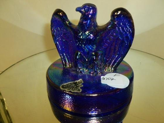 Fenton eagle-blue iridized carnival glass