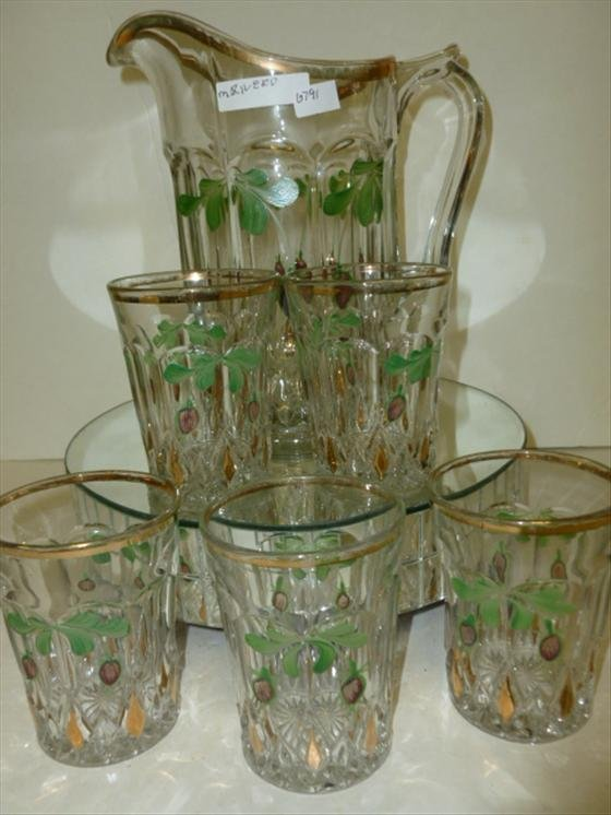 6 pc glass & pitcher set-cherries 7 leaves
