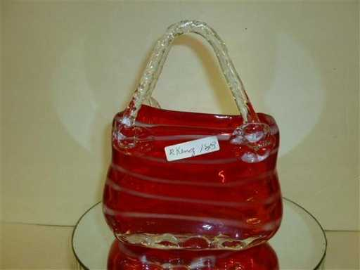 1803 Murano Glass Purse Shaped Vase 8 Tall