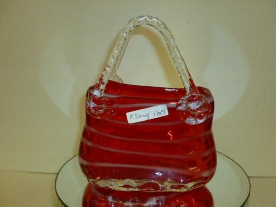 1803: Murano glass purse shaped vase-8 tall